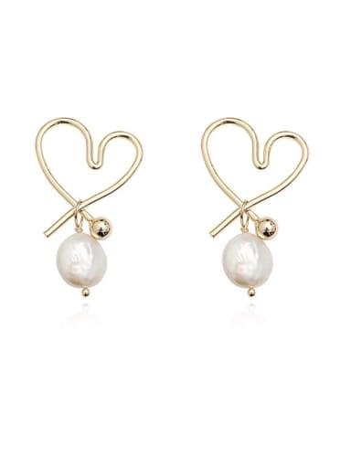 Copper Freshwater Pearl Hollow Heart Minimalist Stud Earring