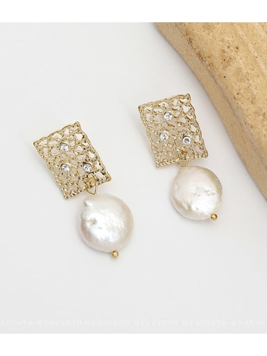 14K gold Copper Freshwater Pearl Hollow Geometric Ethnic Drop Earring