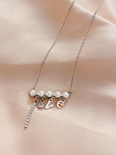 Zinc Alloy Imitation Pearl White LOVE Trend Initials Necklace
