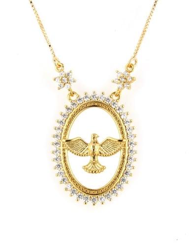 golden Brass Cubic Zirconia Bird Dainty Initials Necklace