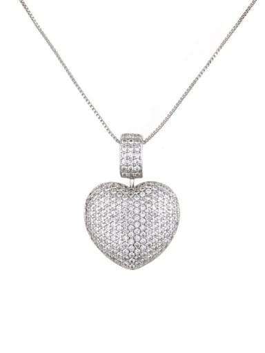 White zirconium plating Brass Rhinestone Heart Dainty   Pendant Necklace