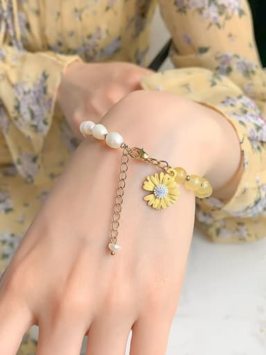 Citrine. Natural pearl Alloy Imitation Pearl Flower Cute Adjustable Bracelet