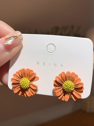 orange Iron Enamel Flower Trend Stud Earring
