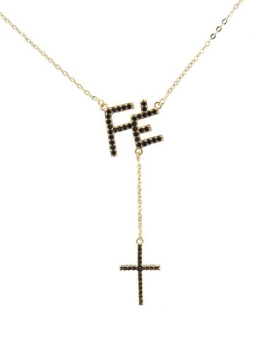 Gold Plated Black zircon Brass Cubic Zirconia Letter Vintage Lariat Necklace