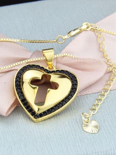 Gold Plated Black zirconium Brass Cubic Zirconia Heart Minimalist Regligious Necklace