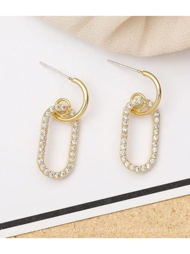 14K gold Copper Rhinestone Locket Minimalist Drop Earring