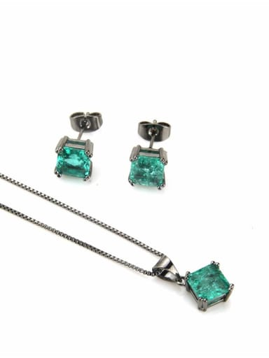 Black green zircon plating Brass Square Cubic Zirconia Earring and Necklace Set