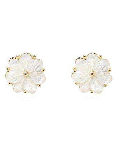 Copper Shell Flower Minimalist Stud Earring