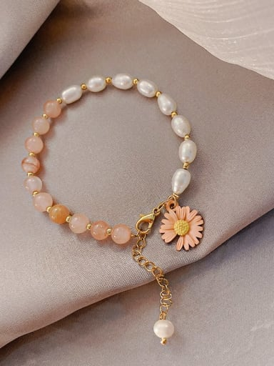 Pink Alloy Imitation Pearl Flower Ethnic Adjustable Bracelet