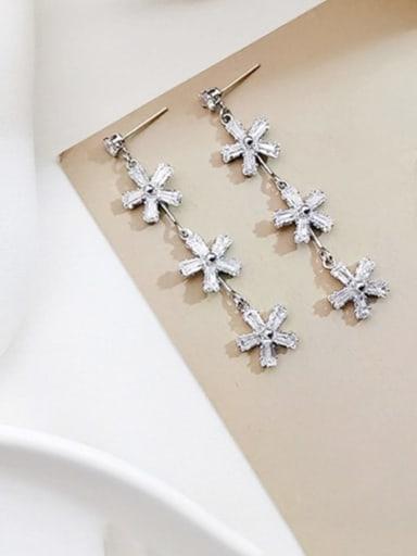 White K Copper Cubic Zirconia Flower Dainty Threader Earring