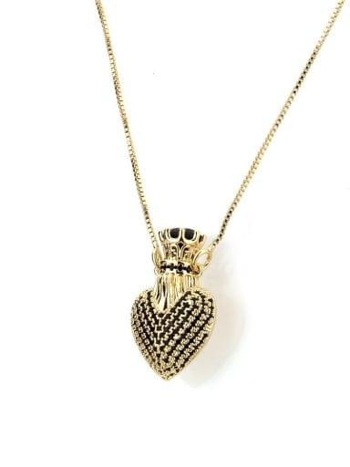 black Brass Cubic Zirconia Heart Dainty Necklace