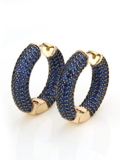Gold Plated Blue Zircon Brass Cubic Zirconia Round Minimalist Hoop Earring