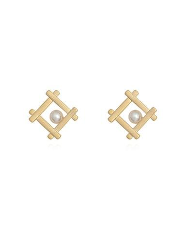 Copper Imitation Pearl Square Minimalist Stud Earring