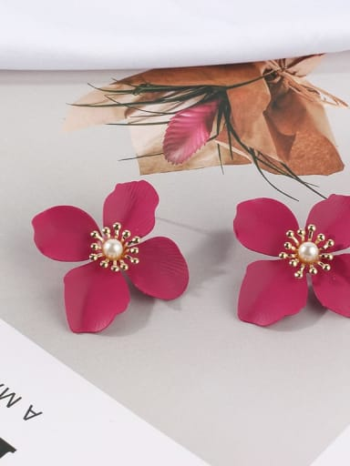Rose red Mixed Metal Freshwater Pearl White Flower Cute Stud Earring