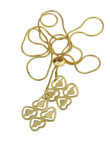 Brass Vintage Hollow  Heart Pendant  Necklace