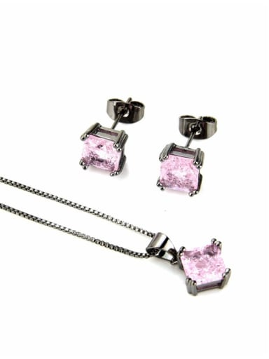 Black coated zircon powder Brass Square Cubic Zirconia Earring and Necklace Set