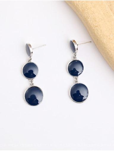 White K dark blue Copper Enamel Geometric Vintage Drop Earring