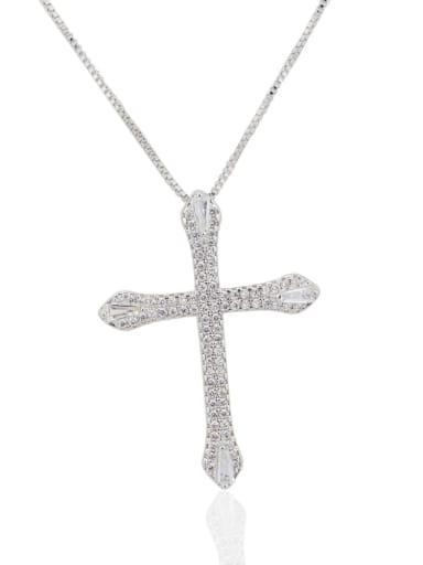 silvery white Brass Cubic Zirconia Cross Pendant Necklace