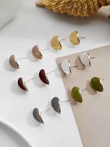 Copper Enamel Geometric Minimalist Stud Earring