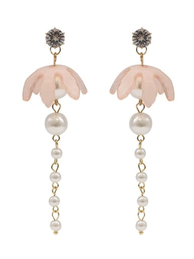 Light pink Copper Imitation Pearl Acrylic Tassel Cute Threader Earring
