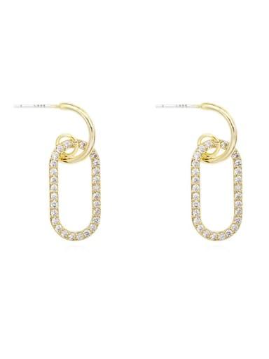 Copper Rhinestone Locket Minimalist Drop Earring