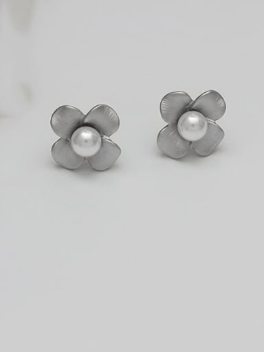 Dumb Silver Copper Imitation Pearl Flower Vintage Stud Earring
