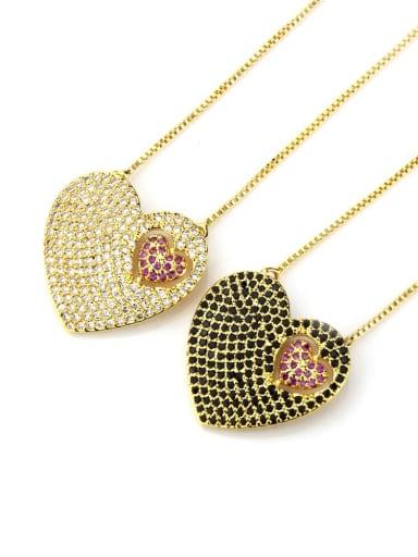 Brass Cubic Zirconia Heart Dainty Necklace