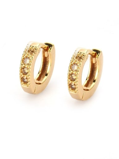 Gold Plated champagne Brass Cubic Zirconia Round Minimalist Hoop Earring