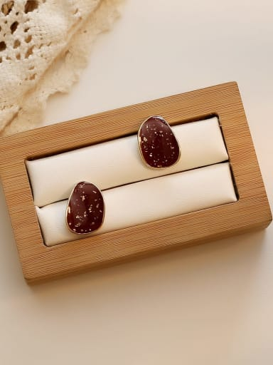 Wine red Copper Enamel Water Drop Minimalist Stud Earring