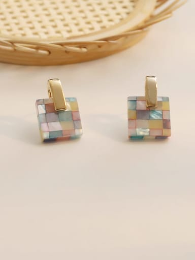 Color grid Copper Acrylic Geometric Ethnic Drop Earring