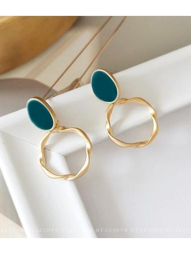 Matte gold Malachite blue Copper Enamel Geometric Minimalist Drop Earring