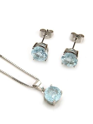 Platinum  Blue Zircon Brass Cubic Zirconia Vintage Geometric  Earring and Necklace Set