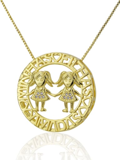 Girls and girls Brass Rhinestone  Locket Dainty Necklace