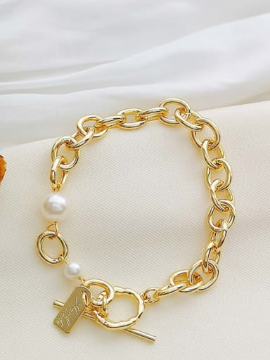Copper Imitation Pearl Geometric chain  Dainty  Bracelet