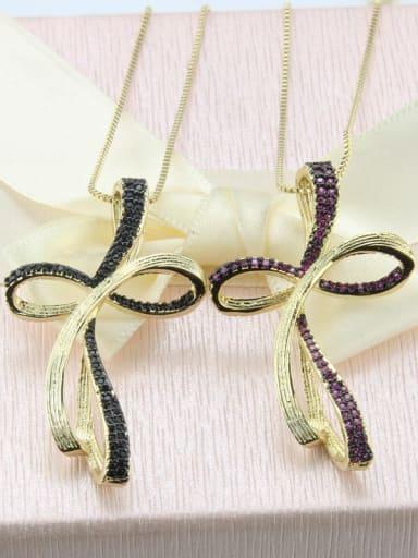Brass Cubic Zirconia Cross Minimalist Initials Necklace