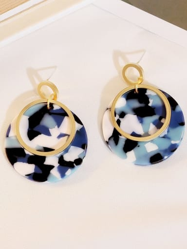Dumb Gold Blue Copper Acrylic Round Bohemia Drop Earring