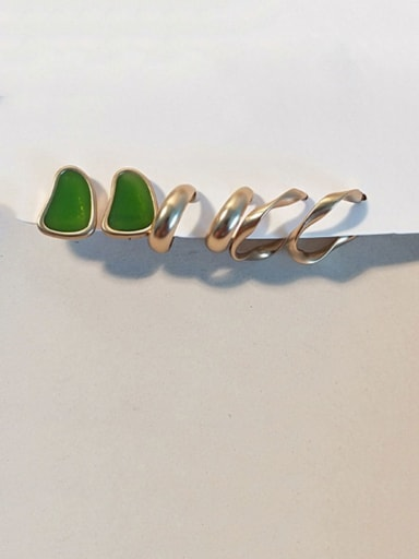 Golden green Copper Enamel Geometric Vintage Stud Earring