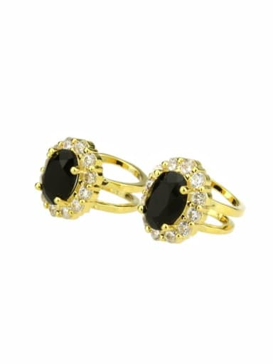 gold-plated Brass Round Cubic Zirconia Round Dainty Clip Earring