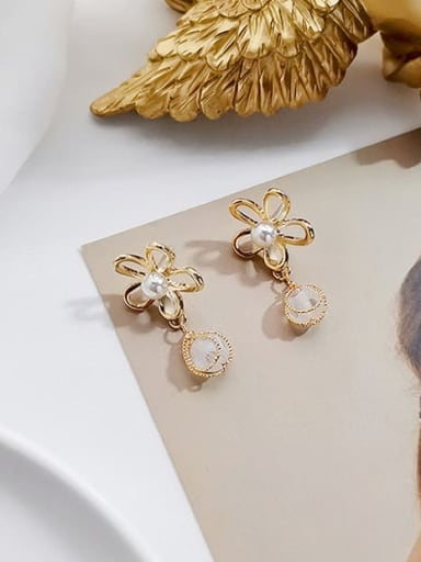 14K gold transparent crystal beads Copper Imitation Pearl Flower Minimalist Drop Earring