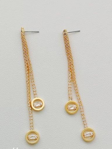 14K  gold Copper Cubic Zirconia Tassel Dainty Drop Earring
