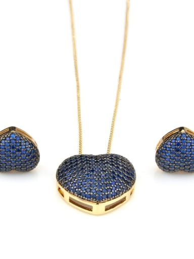Gold Plated blue Brass Cubic Zirconia Dainty Heart Earring and Necklace Set