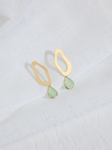 Green Crystal Copper Cats Eye Water Drop Minimalist Stud Earring