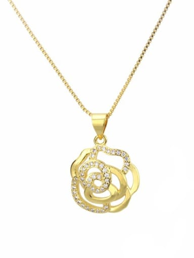 gold-plated Brass Rhinestone Heart Minimalist Necklace
