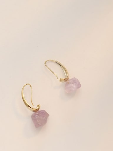 Copper Amethyst Irregular Minimalist Hook Earring