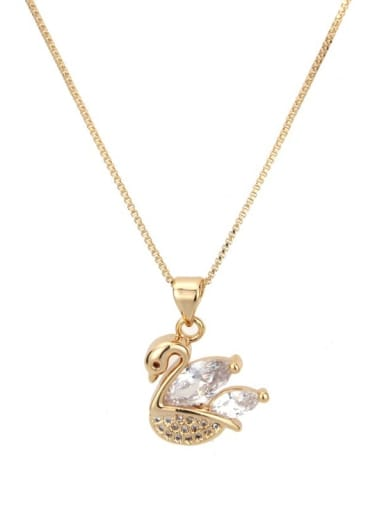 Brass Cubic Zirconia Swan Dainty Necklace