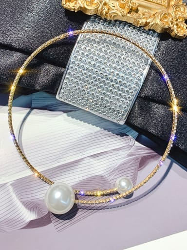 golden Necklace Zinc Alloy Imitation Pearl White Geometric Trend Choker Necklace