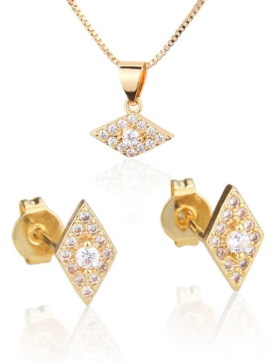 Brass Diamond  Cubic Zirconia Earring and Necklace Set