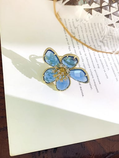 Blue Alloy+ Millefiori Glass White Flower Trend Ring