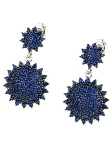 Platinum plated blue Brass Cubic Zirconia Geometric Vintage Drop Earring