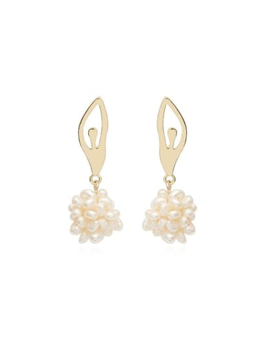 Copper Imitation Pearl Ball Ethnic Drop Earring
